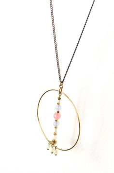 Pastel Pink Blue White Gold Long Necklace  Cherry by SOPHIEetRENEE, €27.00
