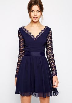 Shop Navy V Neck Long Sleeve Lace Pleated Dress online. Sheinside offers Navy V Neck Long Sleeve Lace Pleated Dress & more to fit your fashionable needs. Free Shipping Worldwide!