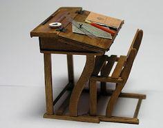 Antique school desk recreated in amazing miniature detail...