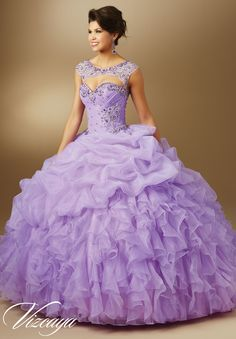 Quinceanera dresses by Vizcaya Jeweled Beading on Organza Removable Jeweled Keyhole Coverlet. Available in Iced Pink, Lilac, Mint, White