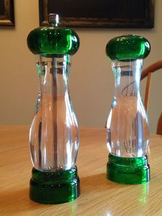 Acrylic Salt and Pepper Grinder ~ Olde Thompson Made in USA ~ Mod ~ Lucite Green and Clear Salt and Pepper Shakers  ~ 1970's ~ Vintage on Etsy, $30.00