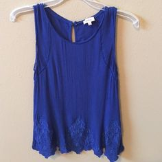 Pixley blue tank shell top size Small Gorgeous blue color. Wear now layered under a jacket or cardigan and wear again for 4th of July!  Brand is Pixley. Tops Tank Tops