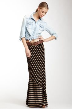 Will copy this outfit but without the belt! Striped Maxi Skirt by Romeo & Juliet