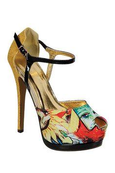 LILIANA Bordeaux Printed Peep Toe Heel by Shoe Closet on @HauteLook