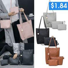 3Pcs/Set women Handbags Purse Women Messenger Bags Office Lady Shoulder Bags Casual Tassel Tote Bag Office Ladies, Casual Bags, Wish Shopping, Tote Purse, Bag Sale, Luggage Bags, Handbags, Purses, Fun