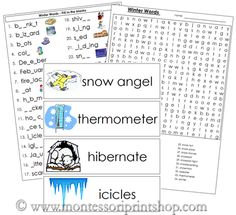 Winter Word Wall - Printable Montessori Materials for home and school.
