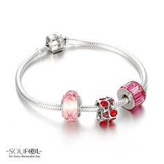Soufeel Pretty in Pink Charm Bracelet 925 Sterling Silver Shop->http://www.soufeel.com/pretty-in-pink-charm-bracelet-925-sterling-silver.html