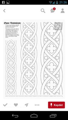 Border pattern for Opus Teutonicum -- so many ideas. Free Motion Quilting, Hand Quilting, Machine Quilting, Embroidery Patterns, Hand Embroidery, Quilt Patterns, Border Embroidery, Quilt Border, Border Pattern