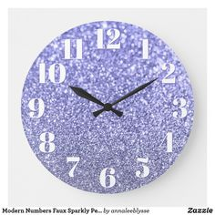 Modern Numbers Faux Sparkly Periwinkle Glitter Large Clock