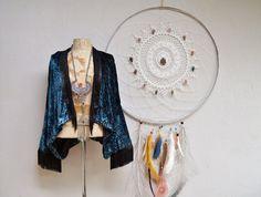 Veste Kimono de Burnout velours frange | Haussement d'épaules de Boho velours découpe boléro | Choisissez votre couleur pourpre bleu argent