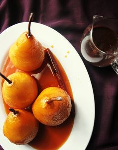 Orange-Caramel Poached Pears