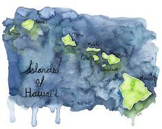 "Watercolor Hawaiian Islands Print - Painting titled, ""Islands of Hawaii"", Hawaii, Hawaii Art, Map, Hawaii Map, Hawaiian Decor, Map Art by TheColorfulCatStudio on Etsy https://www.etsy.com/listing/465708383/watercolor-hawaiian-islands-print"