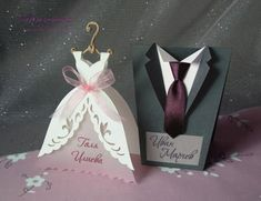 """Place cards """"Bridal Dress/Gown or Groom Tuxedo/Suit"""",Wedding Table Car – Hochzeit meiner Träume Card Table Wedding, Wedding Anniversary Cards, Wedding Place Cards, On Your Wedding Day, Handmade Wedding Jewellery, Wedding Cards Handmade, Wedding Gifts, Dress Card, Table Cards"""