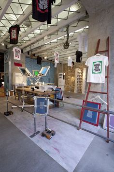 Levi's temporary silkscreen studio in London