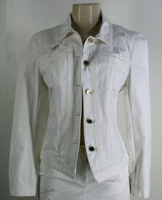 Sexy and fab, this ROBERTO CAVALLI Distressed Off-White Denim Jacket Sz M Frayed Crystal Logo