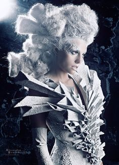 Avant Garde Fashion the snow queen , or ice goddess..fantasy fairy fashion couture for grimm and fairy followers who love all things theatre and would love this look for a christmas ball or event