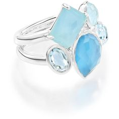 Ippolita 925 Rock Candy Multi-Stone Ring in Blue Star ($750) ❤ liked on Polyvore featuring jewelry, rings, silver, hammered jewelry, 18k ring, 18 karat gold ring, multi stone ring and sterling silver band rings
