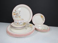 Rare Replacement Pieces or Starter Set 1930's Homer Laughlin Swing China Set // Art Deco Red by thisattic on Etsy, $72