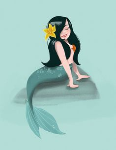 Seafoam Mermaid Pinup Print by shopannshen on Etsy, $20.00