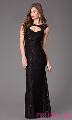 Long Sleeveless Lace Gown at PromGirl.com