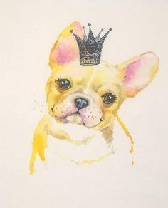 French dog pillow Cute dog pillow Dog and crown Pet pillow