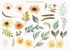 Watercolor floral clipart autumn colors hand от LanaDreamsDesign