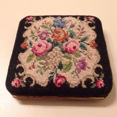 VINTAGE PETIT POINT NEEDLEPOINT COMPACT MIRROR HAND MADE IN AUSTRIA