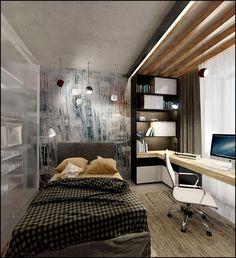 Room Design Bedroom, Home Bedroom, Modern Bedroom, Bedroom Decor, Bedroom Loft, Apartment Interior Design, Home Office Design, House Design, Decoracion Habitacion Ideas