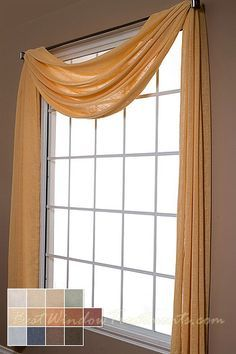 Belgique Scarf Swag Window Topper Available In 13 Colors   Semi Sheer,  Shabby Chic