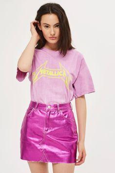 MOTO Metallic Denim Mini Skirt - New In Fashion - New In - Topshop Europe