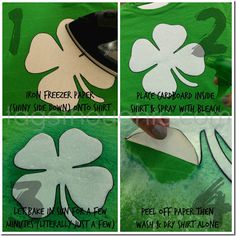 Four Leaf Clover DIY Bleach Spray T-shirt by tagsthoughts.com Includes Free Printable