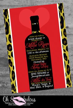 Leopard Wine Love Bridal Shower Bachelorette Party Invitation - Customizable and PRINTABLE. $10.00, via Etsy.