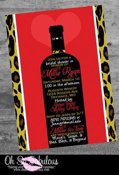 Leopard Wine Love Bridal Shower Bachelorette Party Invitation - Customizable and PRINTABLE. $10.00, via Etsy.