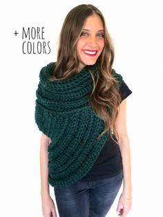Chunky Knit Asymmetrical Cowl Vest Shawl Scarf by TwoOfWandsShop, $175.00