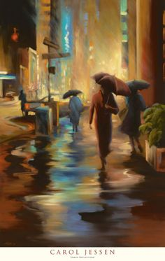 Urban Reflections by Carol Jessen, so much motion in a still image. The artist uses post-impressionistic forms and contours to create dynamism within a set backdrop.