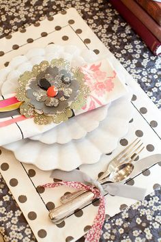 table set ups using patterns, dishes, ribbons, etc.@Kat Randall let's find some stuff at AP and do a post...