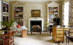 For this Georgian Manor Tom Scheerer chose Nobilis Chene faux bois wallpaper, custom bookcases to match, vtg Baker desk, Travers Oasis Toile fabric.