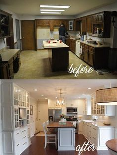Home Renovation Ideas ✔ amazing farmhouse kitchen remodel designs ideas in 2019 00089 New Kitchen Cabinets, Kitchen Redo, Kitchen Flooring, Kitchen Ideas, Kitchen With Dining Room, Kitchen Island Finishes, Easy Kitchen Updates, 10x10 Kitchen, Kitchen Cabinet Remodel