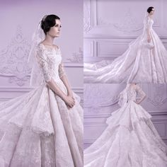 Let charming modest wedding dresses on DHgate.com get your heart. Besides, one shoulder dresses and pakistani wedding dresses are also winners.  2015 custom made wedding dresses full tiered applique lace cathedral train scoop half long sleeve ball gown plus size formal bridal gowns belong to you and lovestory1 can cheer you up.
