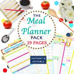 Plan your meals and diet in advance to have a plan when those cravings strike!  INSTANT Download - Menu Planner Printables -  Meal Planning Organization - Home Management Binder - 29 Documents