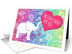 Happy Valentine's Day - cute elephant with heart, rainbow doodles card by Micklyn Le Feuvre Valentine Day Cards, Happy Valentines Day, Holiday Cards, Pink Blue, Aqua, Yellow, Elephant Silhouette, Cute Elephant, Zoo Animals