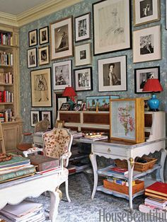 Courtesy of Cote De Texas: another view of the study/home office of Charlotte Moss in her upper East Side townhouse. On the wall appear to be photos of style inspirations (including Babe Paley). Gallery Wall, Decor, Home, Home Library, Home Office, Interior Photography, Interior Design, Family Photo Wall, House Interior