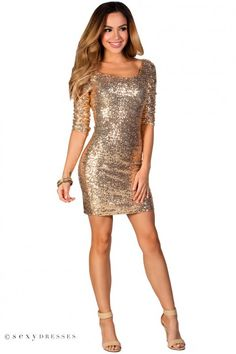 """""""Sadie"""" Gold Fitted Sequin Party Dress with Sleeves"""