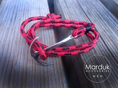 pulsera de ancla en rojo ajustable