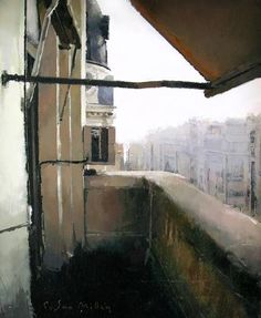 Balcón en Gran Vía. Oleo / tabla, 22x27 cm. Colección particular
