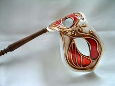 Columbina Red/white Stick Venetian Mask
