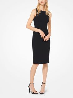 Tailored in stretch bouclé-crepe, this sleeveless sheath dress is designed with a crew neckline and boning that promises a streamlined fit. Pair this flattering piece with refined sandals for day-to-night elegance. Michael Kors Collection, Sheath Dress, Stretches, Ready To Wear, Dresses For Work, Elegant, Winter 2017, How To Wear, Austria