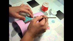 Teja pintada  decorada con papel decoupage. Custom texas