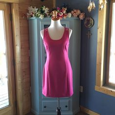 """Dress with LACE Back. NEW Brand new beautiful tailored dress with one button on the back. Has half zip up one side. Beautiful LACE backside. Does have lots of stretch to it. Very well made beautiful dress. Length is 34"""". Brand NEW!  Women's size 10.   78% polyester, 18% rayon, 4% spandex. Use the bundle option for an amazing discount. All items come from a smoke & pet free home. Boutique Dresses"""