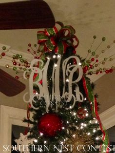 """""""We used our Southern Nest Monogram as our tree topper in our keeping room!"""" -Becky"""